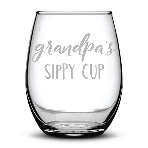 9e9d0227a4b Grandpa's Sippy Cup Funny Gift Laser Etched Wine Glass Cursive - 17 oz