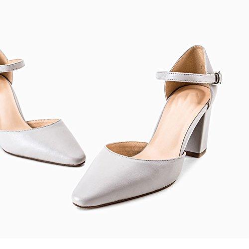 Hueca De Boda De con Un De La Zapatos La Claro Las Correa Femeninos Solo De Atractivos Zapatos Mujeres Zapatos Salvajes De Zapatos Manera Vestir Desnudo Gris WENJUN Zapatos Color La Profesionales wnZ0qPTTX