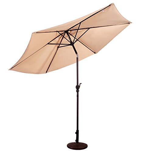 9 FT Beige Patio Umbrella Steel Pole Outdoor Rain Shelter