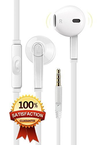 Premium Earphones Earbuds Headphones [Ergonomic Comfort Fit] with Stereo Mic & Remote Control for iPhone, iPad, iPod, Smartphones,Tablets, MP3/MP4 Players, Devices with 3.5mm and More - White
