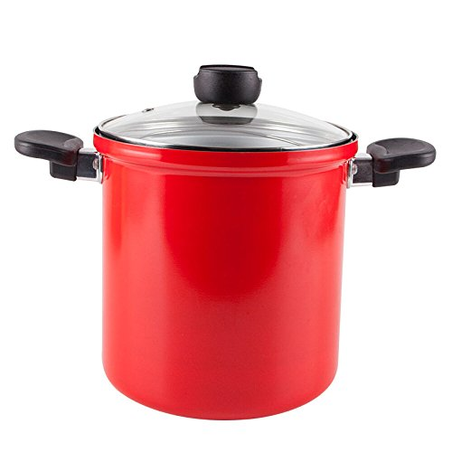 Base Encapsulated (Dishwasher Safe Asparagus Pot with Steamer Basket Cookware Spaghetti Double Boiler Nonstick 3-Piece Pasta Cooker Muti-Cookware Set With Encapsulated Base (Red Pasta Pot))