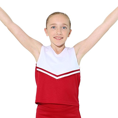 Danzcue Girls V-Neck Cheerleaders Uniform Shell Top, Scarlet-White, Medium