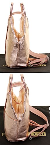 Metallic Napa Soft Backpack Italian Sacchi Rucksack Shoulder Top Leather Primo Rose Gold Bag Handle wxZP4tqxE