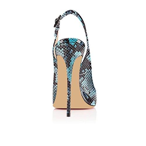 EDEFS - Zapatos con tacón Mujer Python-Blau