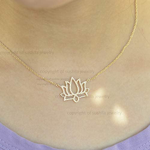 Genuine SI Clarity G Color Pave Diamond Charm Choker Elephant design Pendant Necklace Solid 14k Yellow Gold Handmade minimalist Jewelry Gift