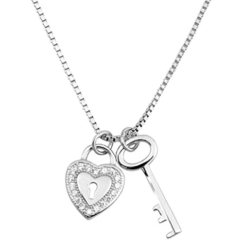 .925 Sterling Silver Necklace Heart Lock and Key Pendant with Cubic Zirconia Box Chain 16 inch + 2 inch extension (sterling-silver)