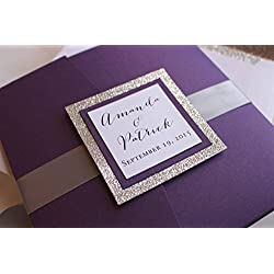 Silver Glitter Pocketfold Wedding Invitation Suite - Sparkling Violette Set {SAMPLE}