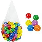 Monsieur Bébé ® Sac de 100 balles de jeu ou de piscine multicolores Ø 5,5 cm + Filet de rangement - Norme CE