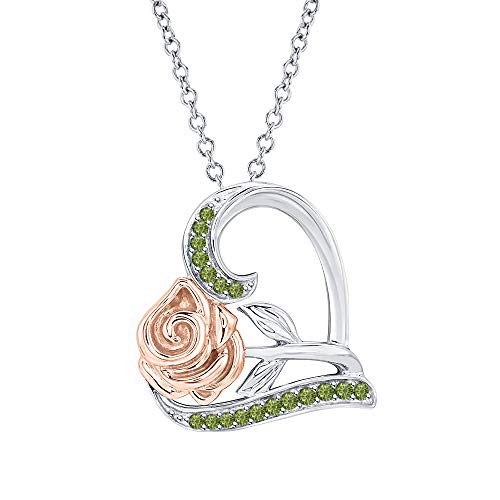 Dazzling Rose Flower Heart Pendant Necklace Green Tourmaline 14k White-Dazzling Rose Gold Over .925 Sterling Silver for Womens