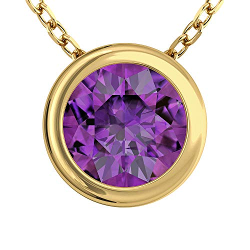 Belinda Jewelz Womens 14K Yellow Gold Round Sparkly 7 mm Gemstone Bezel Solitaire Classic Chain Gemstone Fine Jewelry Accessory Pendant Necklace, 1.48 Carats African Amethyst, 18 ()