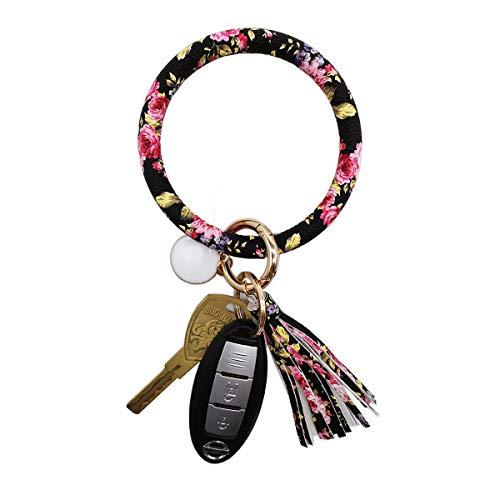 Tovly Wristlet Round O Key Ring Chain Leather Oversized Bracelet Bangle Keychain Holder Tassel for Women Girl (Floral Patterns) ()