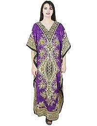SKAVIJ Womens Kaftan Nightgown Tunic Kimono Style Dress Beach Cover up Plus Size