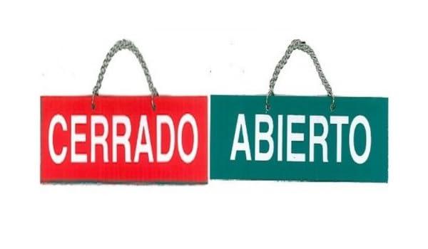 ABIERTO / CERRADO. CARTEL LETRERO CON CADENA 25,5 X 11 CMS ...
