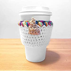 Unicorn Rainbow Crochet Coffee Cup Cozy