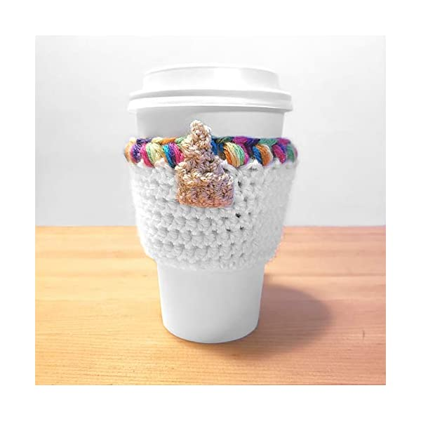 Unicorn Rainbow Crochet Coffee Cup Cozy 4
