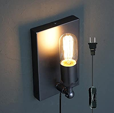 Kiven Vintage Industrial Wall Lamp Modern Lighting Bedroom Balcony Edison Wall Sconces On/Off Plug-In Switch Cord Bulbs Included