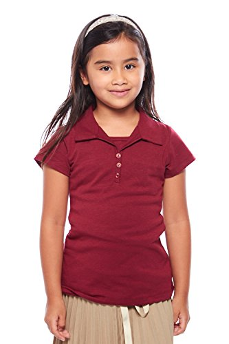 Girls Kids Front 3 Button Basic Plain School Uniform Polo Shirt GTSU-803 (8, Burgundy) (Plain Front Uniform)