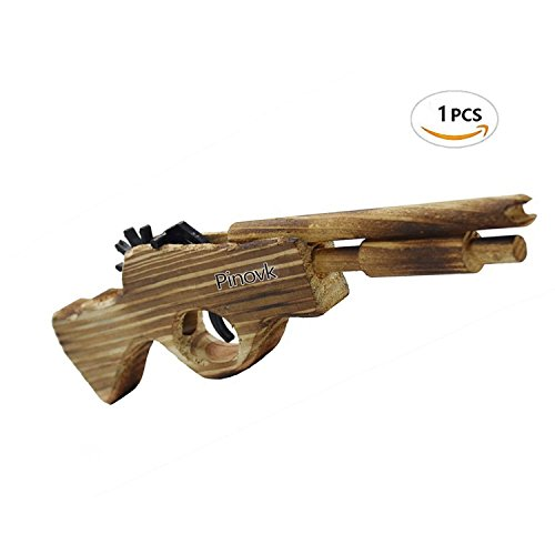 Pinovk Classic Wooden Elastic Rubber Band Double Barrel Elongated Shotgun Toy Gun 5 Rapid Shots