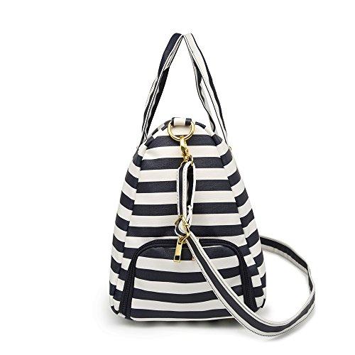 Elenture Weekender Tote Bag Leather Travel Duffel Bag Overnight Carry Bag (Navy Blue/White Stripe) by Elenture (Image #2)
