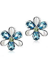 Neoglory Jewelry Made with SWAROVSKI ELEMENTS Crystal Blue Crystal Flowers Stud Earrings