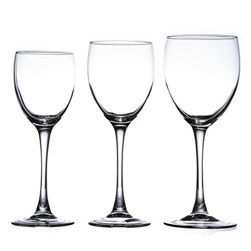 ARCOROC 12-piece Wine Glasses Set (in 3 size), White, Red and Liquor Wine, Restaurant&Bar Quality, Tempered Glass (12 oz) ()