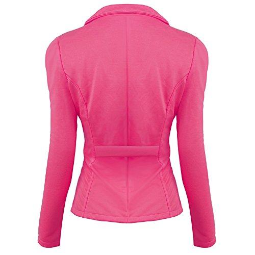 Veste Boutons Couleur Bureau Femmes Manteau avec Business Rouge Slim Fit Lrud Occasionnel Bonbons Blazer Travail qOBxRz4