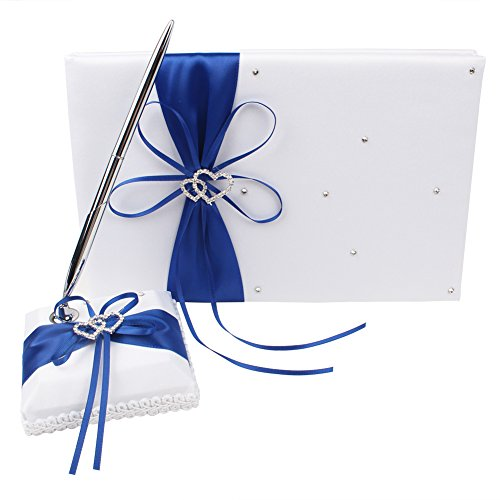 Double Heart Guest Book (OurWarm Wedding Guest Book and Pen Set Double Heart Rhinestone Decor Royal Blue / Deep Blue for Birthday, Baby Shower, Party Favor)