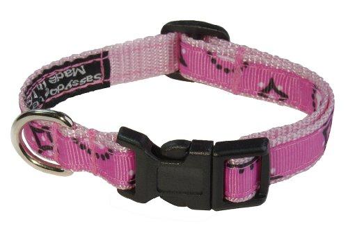 """Sassy Dog Wear 1/2"""" x 6""""-12"""" Bandana Dog Collar, X-Small, Pink"""