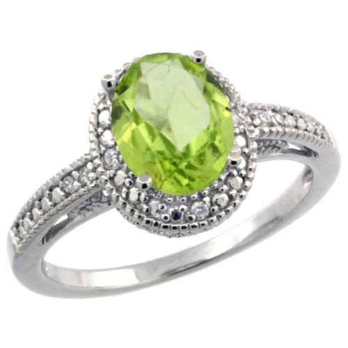 Sterling Silver Diamond Vintage Style Oval Peridot Stone Ring Rhodium Finish, 8x6 mm Oval Cut Gemstone sizes 5 to 10