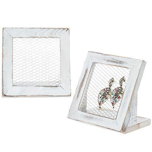 MyGift Set of 2 Vintage White Wood & Metal Mesh Earring Holders