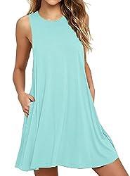 Weaczzy Women Summer Sleeveless Pockets Casual Swing T Shirt Dresses Beach Cover Up Plain Pleated Tank Dress S 01 Nile Blue