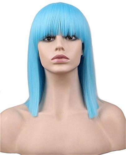 WIAGHUAS Peluca Corta Neat Bang Bob Estilo Straight Mujeres Niñas Cosplay Party traje Azul Claro 40