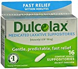Dulcolax Medicated Laxative Suppositories - 16 ct, Pack of 6