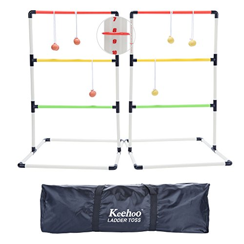 - KH Yard/Lawn/Beach Ladder Ball Toss Game for Family with 6 Bolos and Waterproof Carry Bag