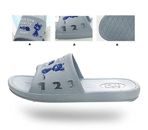 Zapatillas Pescado Zapatillas Grey Come de Unisex de Verano O Fascigirl de El Zapatillas Gato Ba Casa Dibujos XL Antideslizante Animados Wzx7zwr8Uq