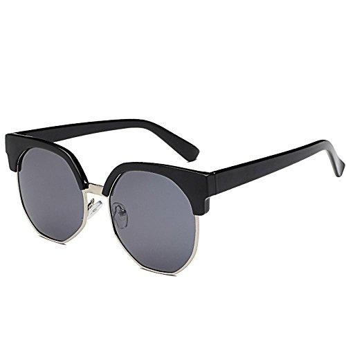 Aoligei Verres à lunettes de soleil Chao personnes irrégulières ronde demi cadre lunettes de soleil femme everbright biais boîte lunettes FSoKZ