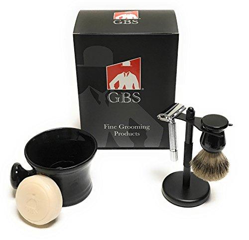 Heavy Duty Shaving Mug Set - Black Edition - Merkur 42001 Safety Razor, Shaving Mug,100% Pure Badger Brush, GBS 97% All Natural Ocean Driftwood Soap, Stand + 15 Blades! by GBS