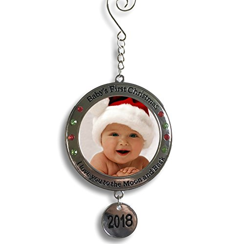 Banberry Designs Baby's First Christmas - 2018 Photo Xmas Ornament - I Love You to the Moon and Back Picture (Baby Hallmark Ornament)