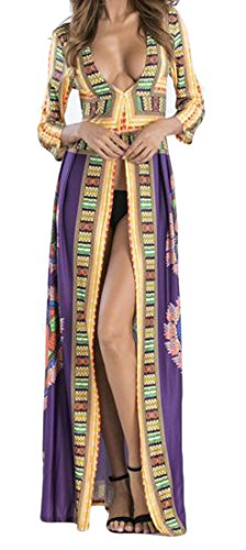 Slit Deep Purple Maxi Neck Women Boho African Cromoncent Dress Long Sleeve V Dashiki RSAWq