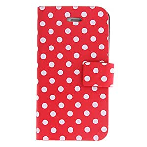 Round Dots PU Full Body Case with Stand for iPhone 4/4S (Assorted Colors) --- COLOR:Red