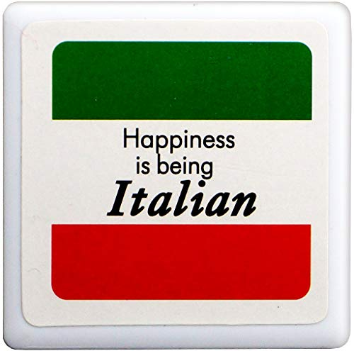 (Happiness is being Italian Tile Magnet - From Italy Collection of Italian Pride Products at PSILoveItaly)