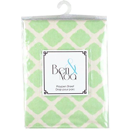 Ben & Noa Fitted Play Pen Sheet Flannel, Green Lattice
