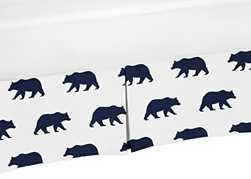 Sweet Jojo Designs Navy Blue and White Pleated Toddler Bed Skirt Dust Ruffle for Big Bear Collection