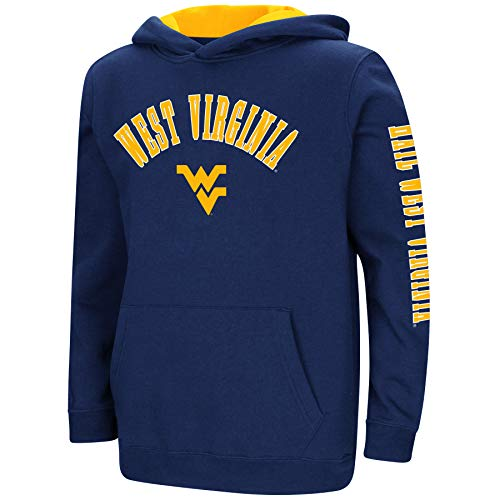 Colosseum NCAA Youth Boys-Crunch Time-Hoody Pullover-West Virginia Mountaineers-Blue-Youth Medium