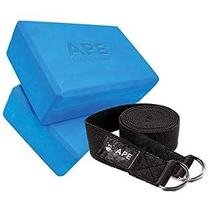 Yoga Blocks 2 Pack & Metal D-Ring Yoga Strap Set – Premium & Durable EVA Foam Blocks – Improve Yoga Poses, Strength…