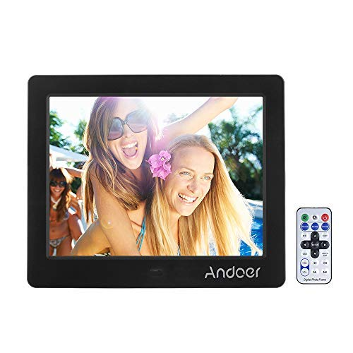 Andoer Digital Photo Picture Frame with MP3 MP4 E-book Calendar Clock Function with Remotea Controller (8 inch/black)