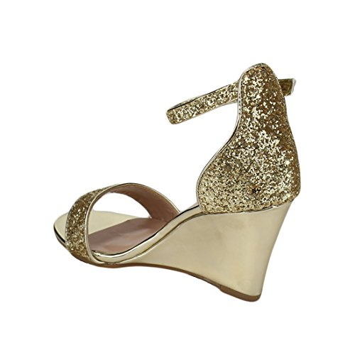 FOREVER FQ13 Womens Glitter Ankle Strap Wrapped Wedge Heel Dress Sandals Gold K6VDLXUWW