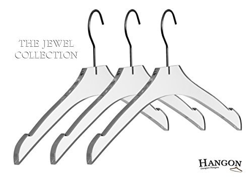 Acrylic Hangers (The Jewel Collection - Acrylic/Lucite Hangers , Made of clear acrylic for a luxurious look and feel , With a Chrome-plated hook, A staple for any well-organized closet)