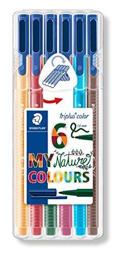 Staedtler Triplus Colour - STAEDTLER 323 SB6CS2 1.0 mm Triplus Colour Fibre-Tip Pen, Nature Colours, Pack of 6