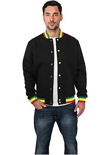 Urban Classics Contrast College Sweatjacket, Color:blk/rasta;Größe:S by Urban Classics